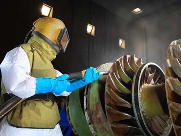 sand blasting steel industrial motors