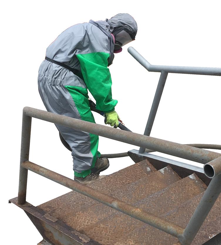 Murray sand blasting steel stairs